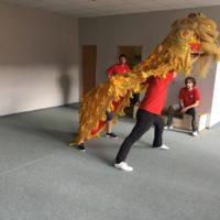 Lví tanec na veletrhu SportLife 2017.  První veřejné vystoupení.
